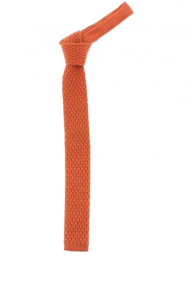 FRANCO BASSI Cravatta arancione in maglia tubolare per uomo autunno inverno 14-15