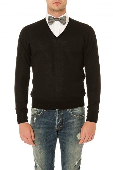 RIONE FONTANA Maglione scollo a V nero in lana merinos per uomo autunno inverno 14-15