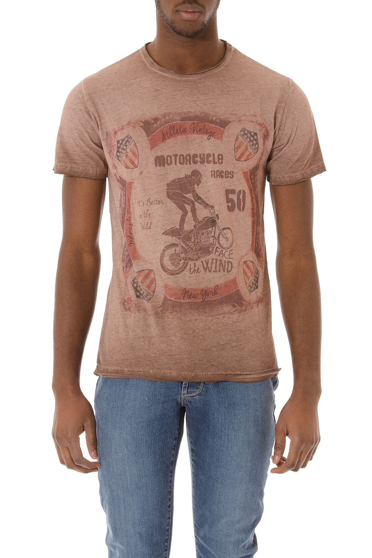 Athletic vintage bordeaux brown t shirt with colored print for Vintage t shirt printing