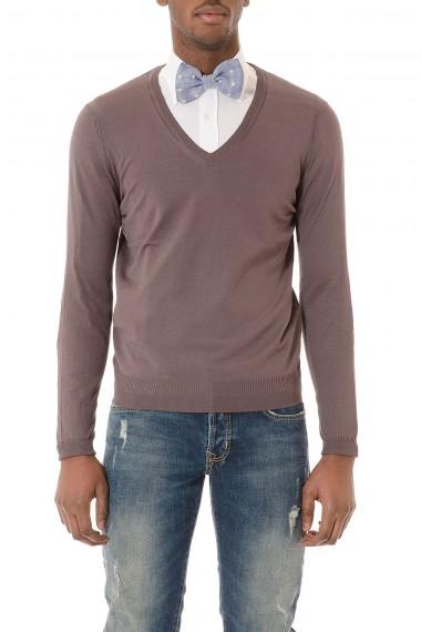 Maglia scollo a V grigio scuro in seta e cotone per uomo P/E 2015 PAOLA PECORA