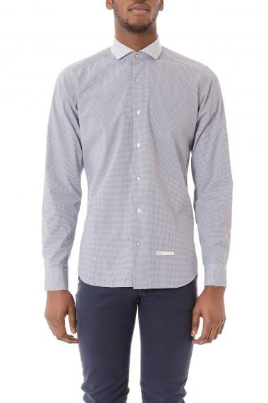 Camicia bianca con micro fantasia blu per uomo DNL primavera estate 2015