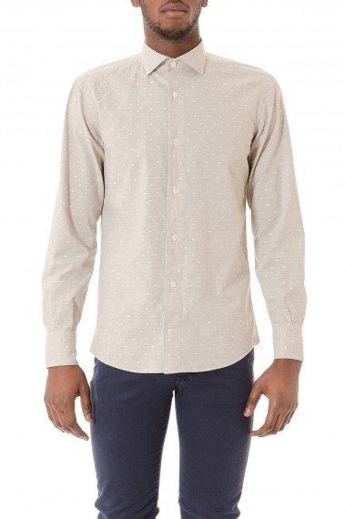 Camicia beige a pois in cotone e lino per uomo ELEVENTY P/E 2015