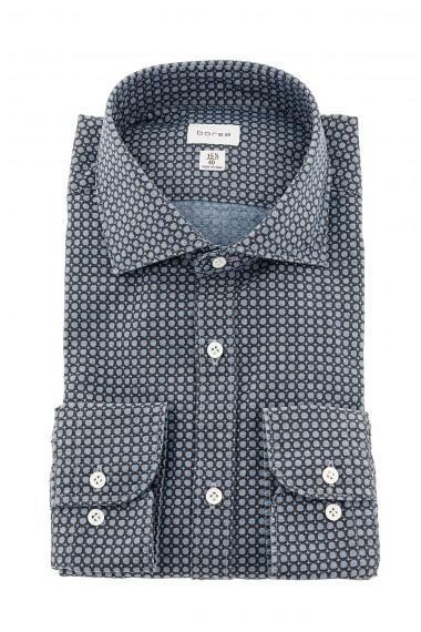 BORSA Camicia azzurra e marrone per uomo SLIM FIT A/I 15-16