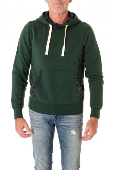Felpa per uomo di colore verde  SUN68 A/I 16-17 con cappuccio