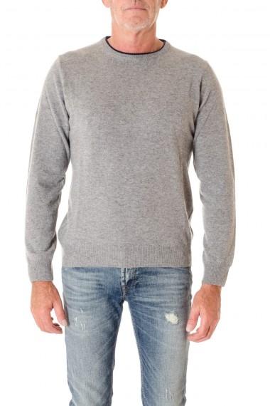 Girocollo grigio per uomo con toppe blu RIONE FONTANA A/I 16-17