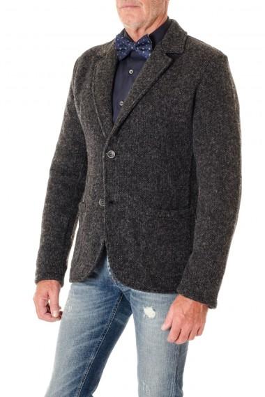 Cardigan per uomo WOOL & CO. in lana grigio