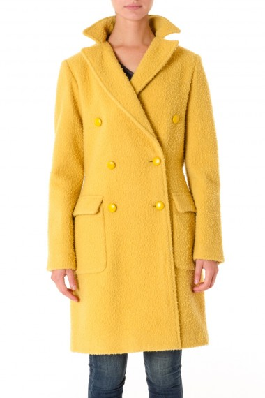 FEMME by Michele Rossi A/I 16-17 Cappotto giallo in lana made in Italy