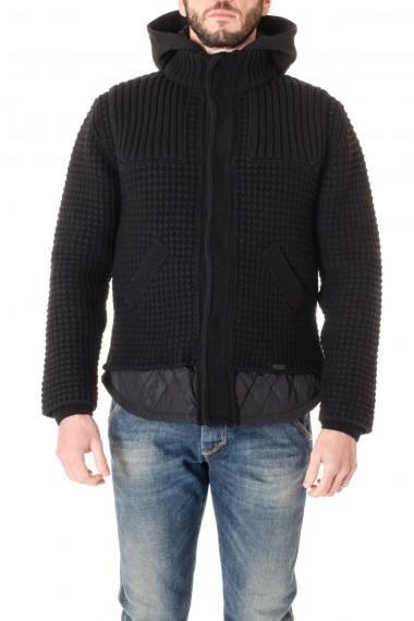 Giubbotto nero BARK per uomo A/I 16-17 in maglia di lana