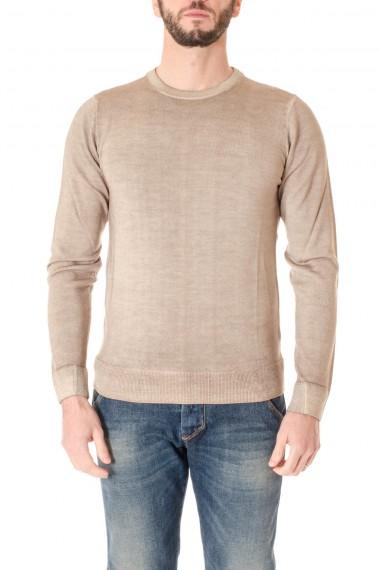 Maglia a girocollo beige delavè per  uomo WOOL & CO. 100% lana
