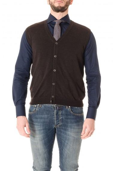 RIONE FONTANA A/I 16-17 Gilet testa di moro in maglia per uomo