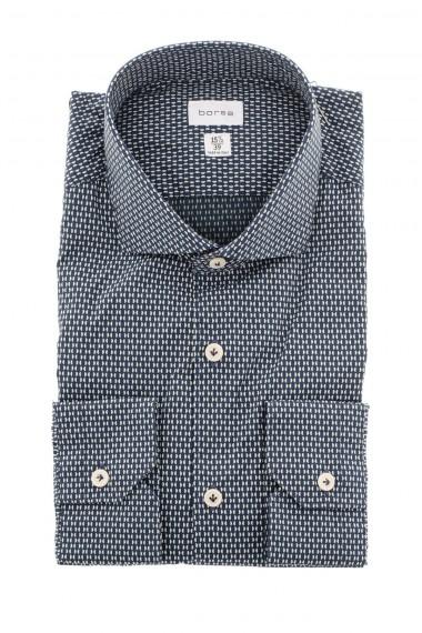 A/I 16-17 Camicia BORSA con microfantasia bianco panna su fondo blu
