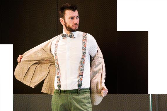 Giacca L.B.M.1911, camicia BORSA, papillon e bretelle RIONE FONTANA, pantaloni MICHAEL COAL