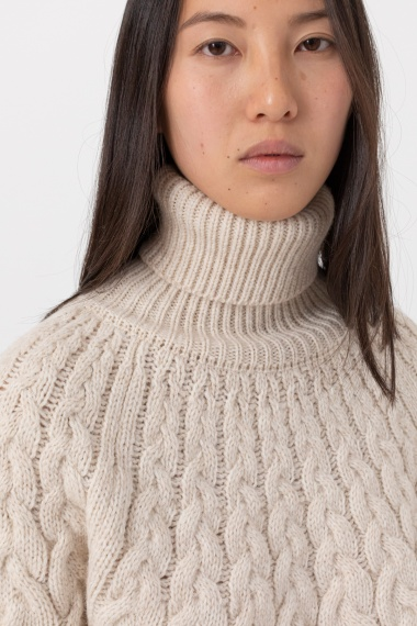 Beige rollneck pullover for woman ALPHA F/W 21-22
