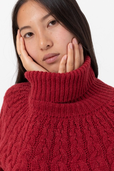 Red rollneck pullover for woman ALPHA F/W 21-22