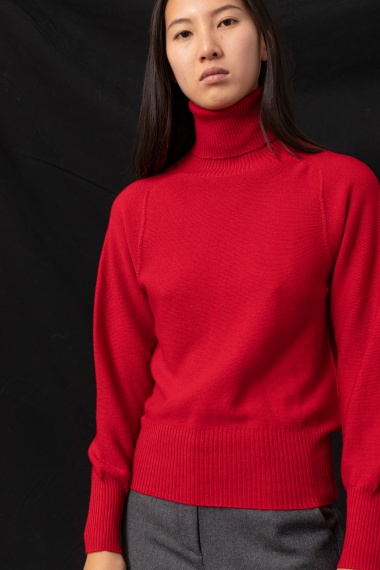 Red roll-neck pullover for woman ALPHA F/W 21-22