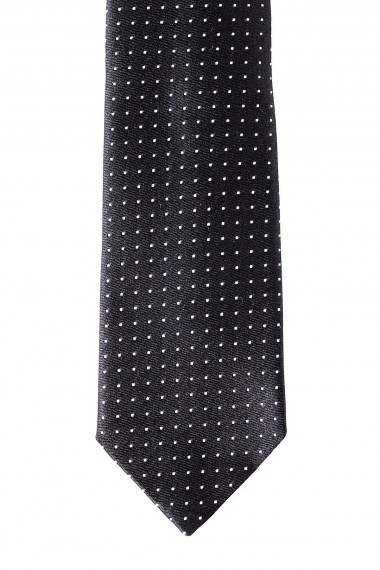 FRANCO BASSI Black tie with white small dots for man spring summer