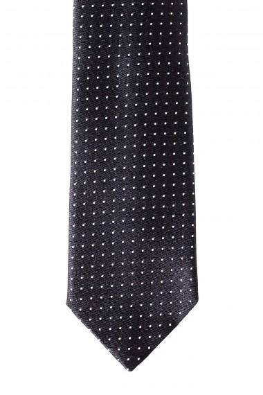 FRANCO BASSI Cravatta nera punta spillo bianco per uomo primavera estate