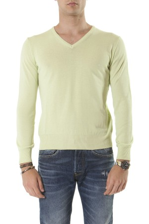 RIONE FONTANA Yellow V-neck sweater for man spring summer