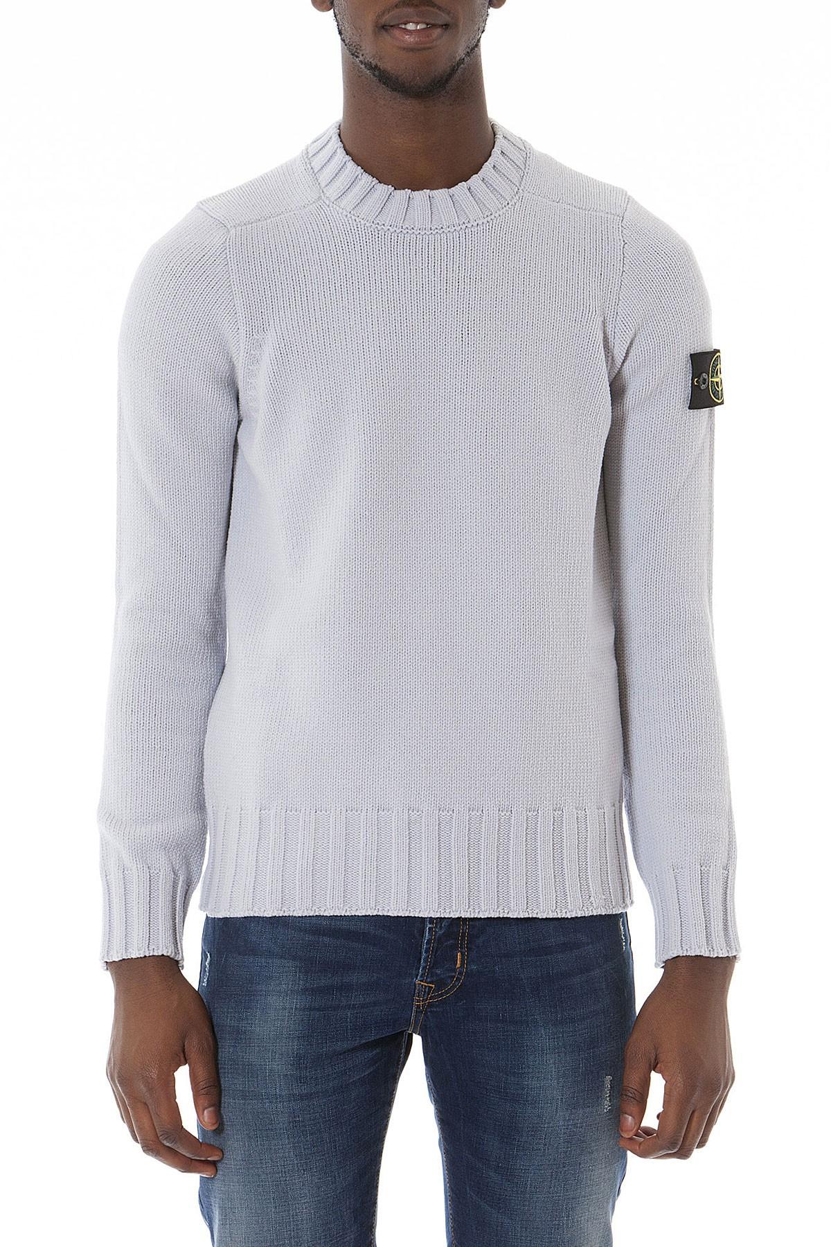 reputable site 5f7b4 bbfc1 STONE ISLAND Gray crew-neck sweater for men autumn winter 14-15