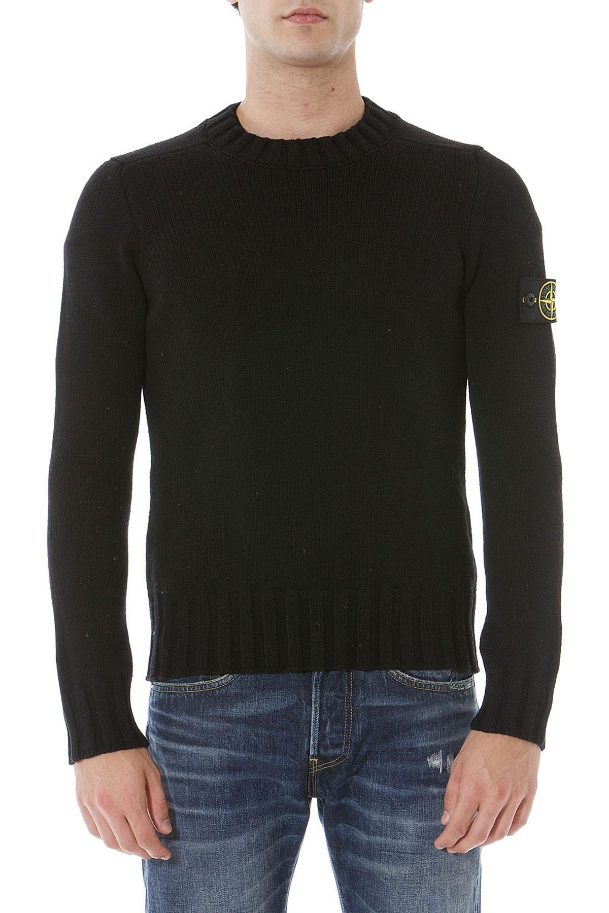 classic fit 9f96b c7f9c STONE ISLAND Black crew-neck sweater for men autumn winter 14-15