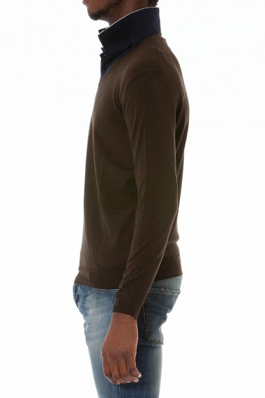 H593 Brown V-neck sweater for man autumn winter 14-15