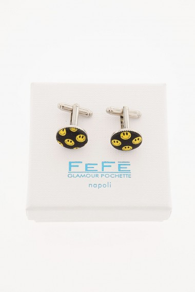 FEFE' Cufflinks in metal and silk for man