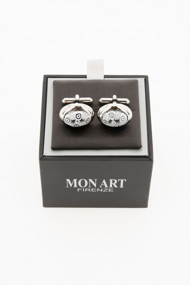 MON ART Cufflinks in stainless and murrina glass for man