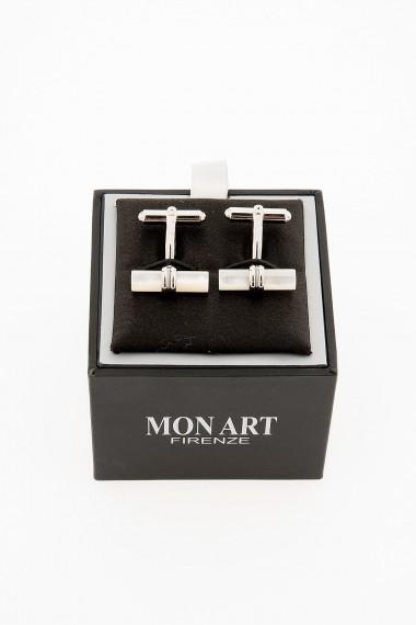 Gemelli a cilindro in acciaio e madreperla per uomo MON ART