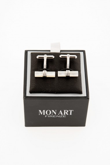 MON ART Cylinder cufflinks in stainless and mother of pearl for man