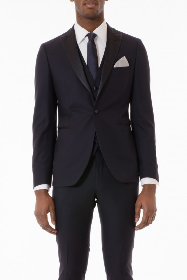 TAGLIATORE Blue suit with vest for man spring summer