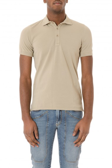 Beige polo shirt with short sleeves for man H953 spring summer 2015