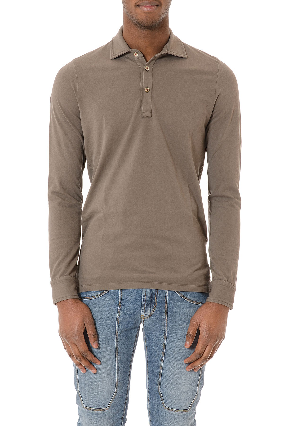 Brown Polo Shirt With Long Sleeves For Man Spring Summer