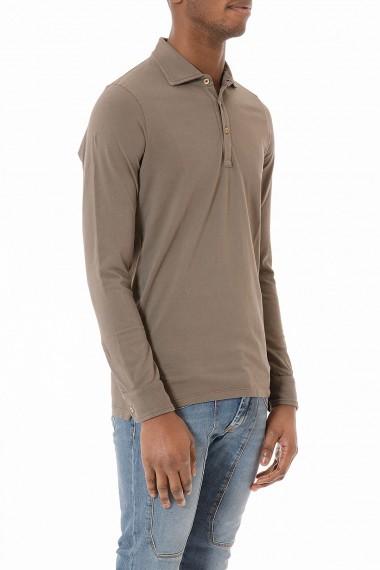 Polo marrone manica lunga per uomo primavera estate 2015 H953