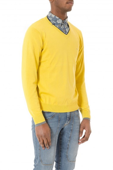 Yellow V-neck sweater in cotton for man S/S 2015 SUN 68