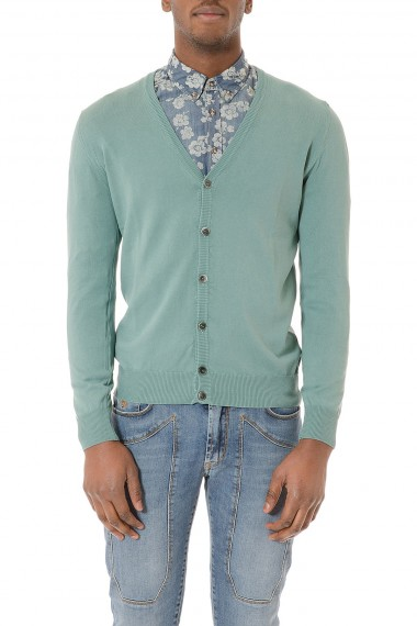 Cardigan verde acqua in cotone per uomo P/E 2015 RETOIS