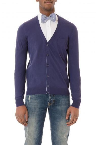 PAOLO PECORA Cardigan blu in cotone per uomo P/E 2015