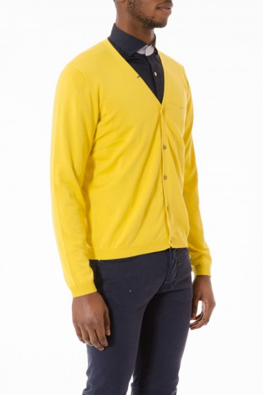 Yellow SUN68 cardigan in cotton for man spring summer 2015