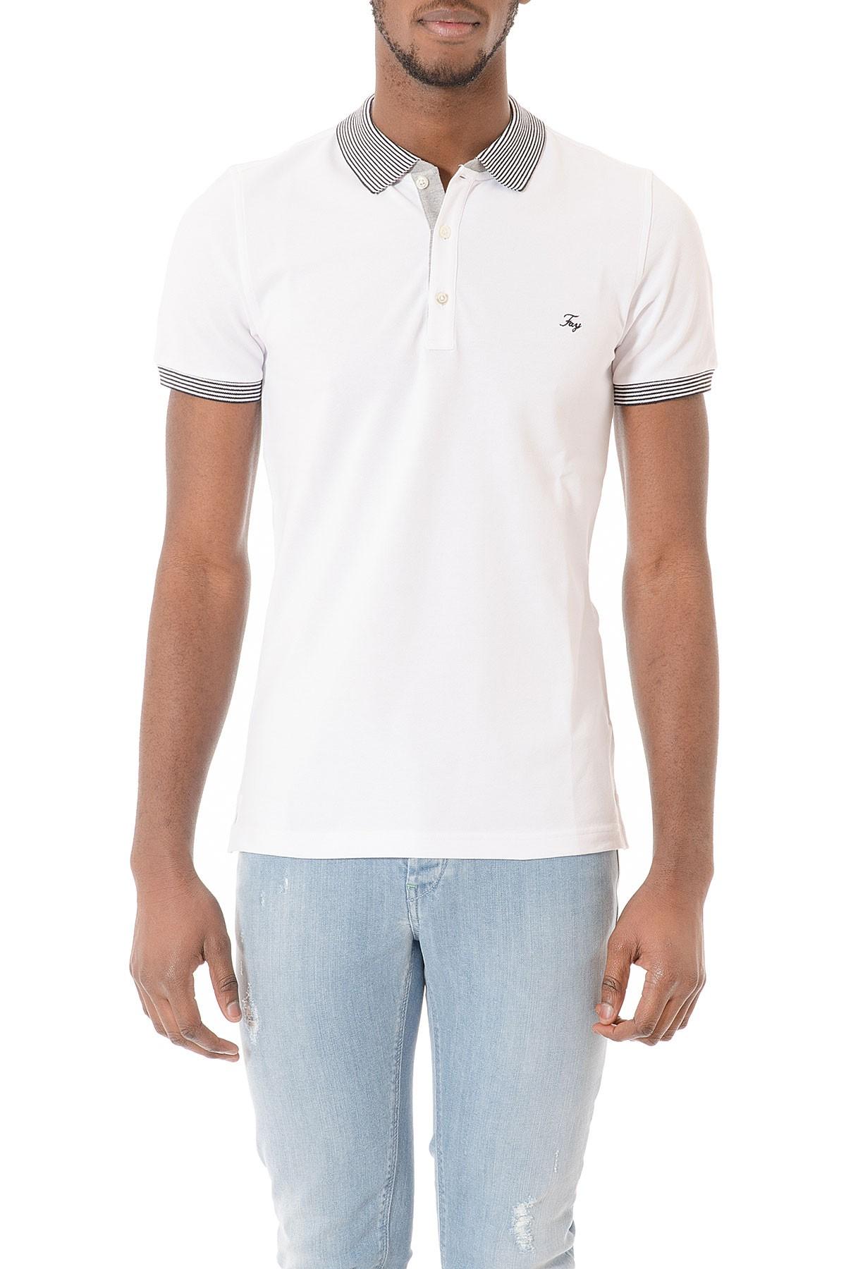 super popular 462a0 b3c30 Polo bianca in cotone maniche corte P/E per uomo FAY