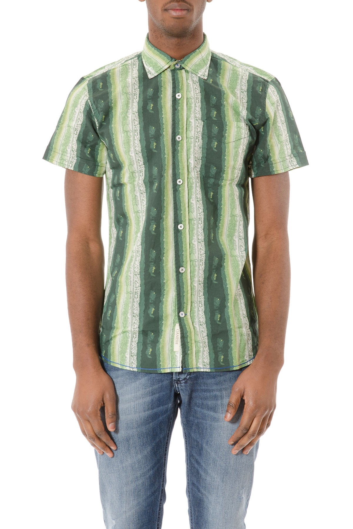 the latest 011b5 ca6b4 Camicia verde a righe P/E GANESH per uomo in cotone