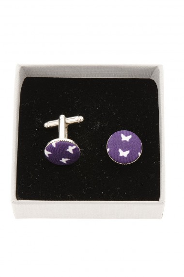 FeFè Purple cufflinks with butterfly pattern