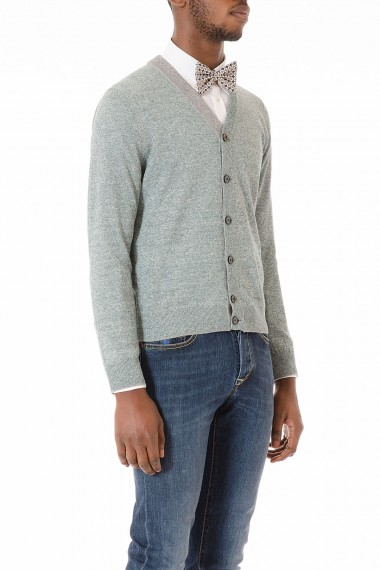 ELEVENTY Green and gray cardigan for men spring summer 2015