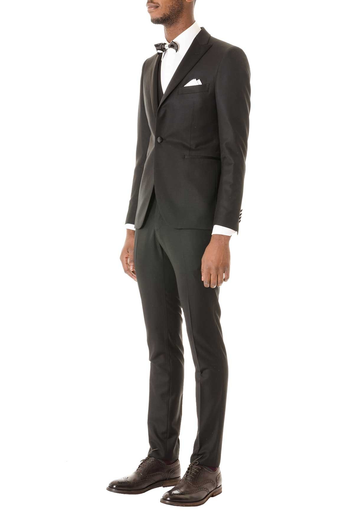 TAGLIATORE Black suit with vest for man Fall Winter