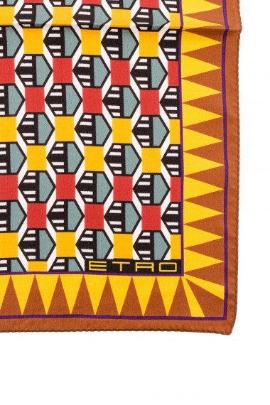 autumn winter 2015-2016 ETRO yellow and red pochette with geometrical patterns