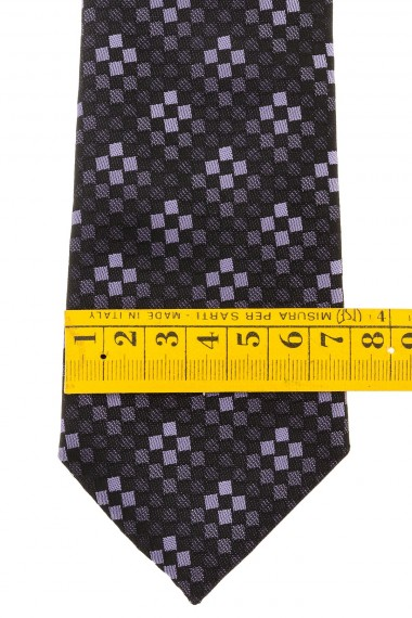 RIONE FONTANA Cravatta nera con fantasia viola per uomo A/I 15-16