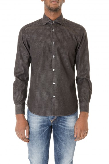 BORSA Gray shirt with pattern for man F/W 15-16