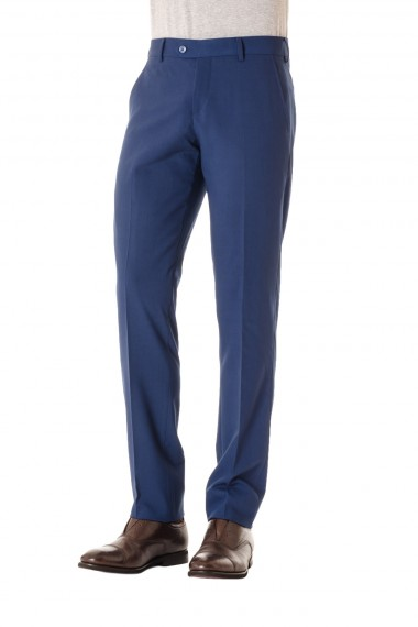 Slim fit trousers light blue wool RIONE FONTANA S/S 16 made in Italy