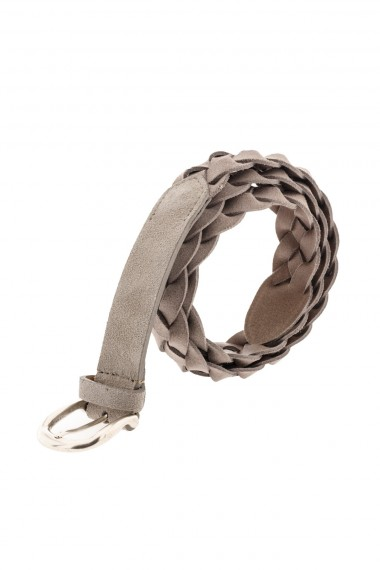 Braided belt in light brown leather for men RIONE FONTANA
