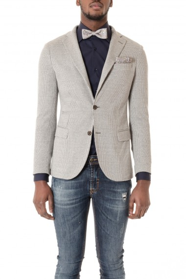 Jacket ELEVENTY for men pied de poule gray and white S/S16