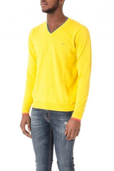 Yellow cotton V-neck sweater SUN68 S/S 16