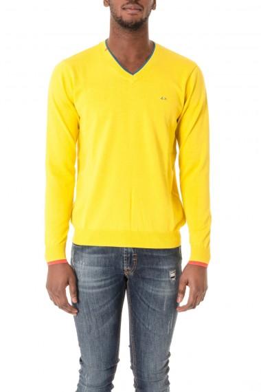 Maglia in cotone con scollo a V colore giallo SUN68 P/E 16